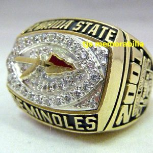 2001 FSU FLORIDA STATE SEMINOLES ORANGE BOWL CHAMPIONSHIP RING
