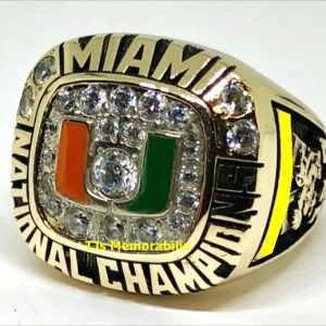 1991 U OF M  UNIVERSITY OF MIAMI HURRICANES NATIONAL CHAMPIONSHIP RING STAFFER