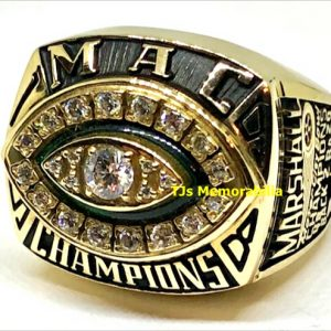 1998 MARSHALL THUNDERING HERD BACK TO BACK MAC CHAMPIONSHIP RING