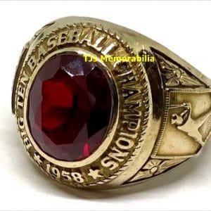 1958 MINNESOTA GOPHERS BIG TEN BASEBALL CHAMPIONSHIP RING