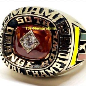 1983 U OF MIAMI HURRICANES FOOTBALL NATIONAL CHAMPIONSHIP RING