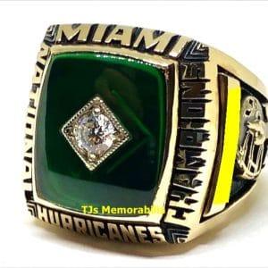 1989 U OF MIAMI HURRICANES FOOTBALL NATIONAL CHAMPIONSHIP RING